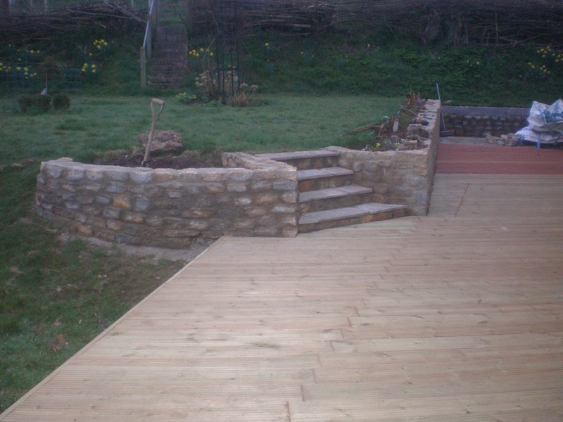 Decking, stone wall & steps