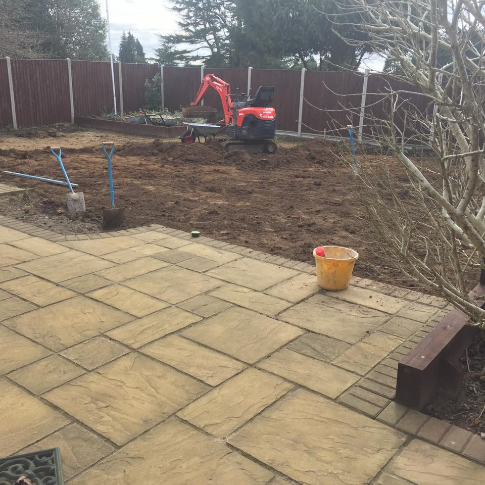 dig out for decking and artifical grass