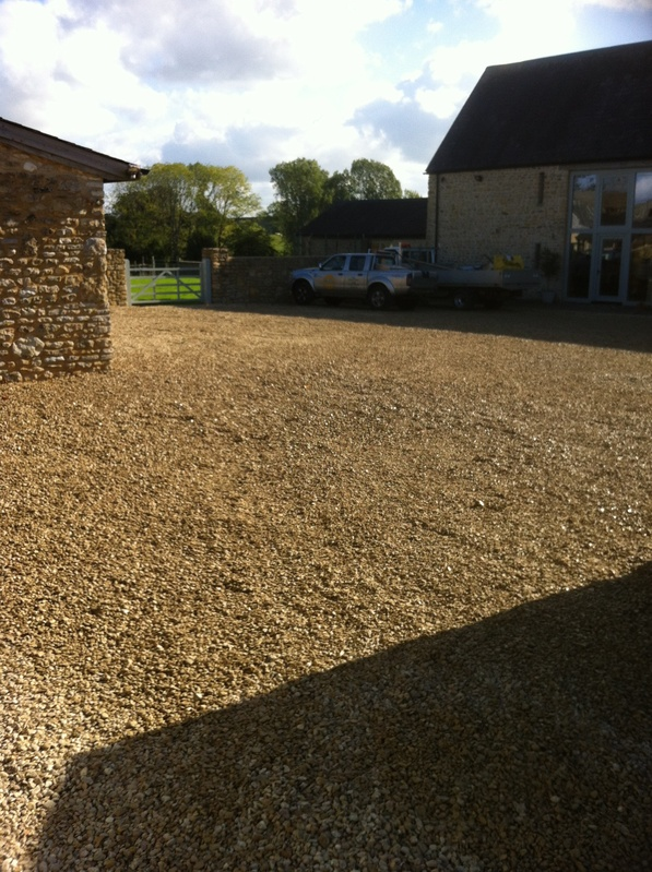 Large gravel parking area
